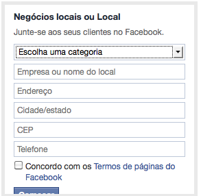 categoria negocio no facebook